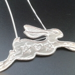 Magick Etched Silver Hare Pendant