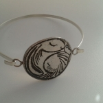 Snoozy Silver Hare  Open Bangle