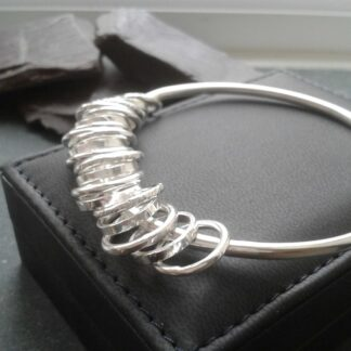 Sterling Silver Bangle with Silver Rings