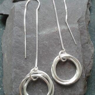 Silver Russian Wedding Threader Earrings