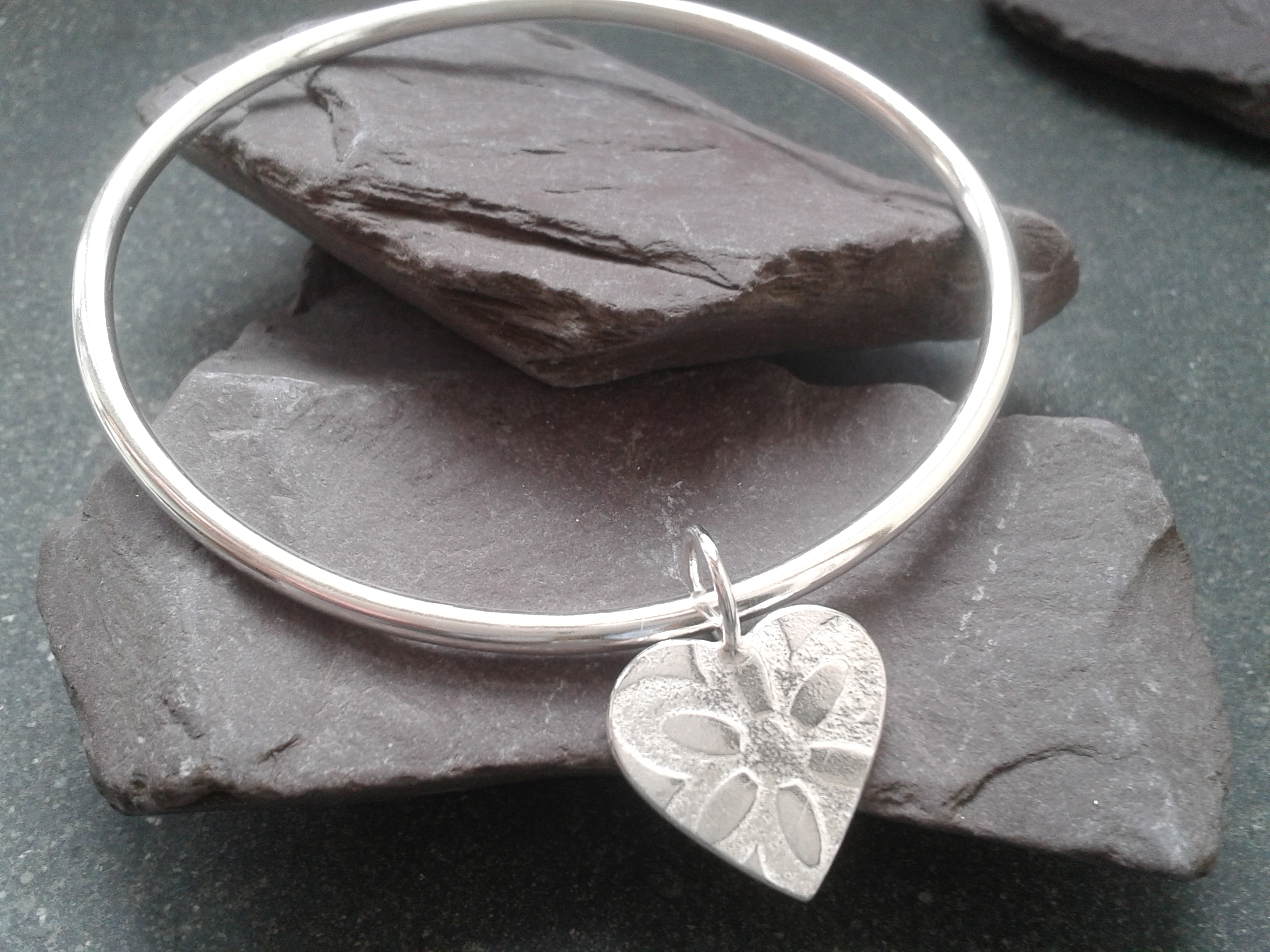 Silver Bangle with Silver Heart Charm