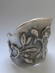 Silver cuff - handmade by Lucylou Designs using chasing and repousse