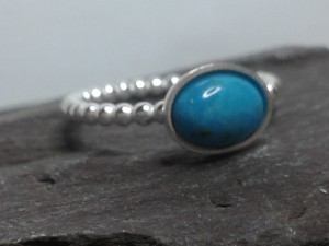 Turquoise Silver Skinny Ring
