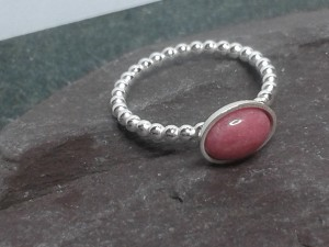 Rhodonite silver skinny ring