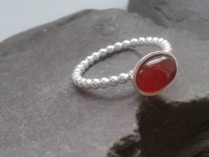 Carnelian silver skinny ring