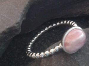Rhodocrosite skinny silver ring