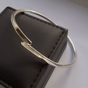 Forged Overlapping Silver Bangle