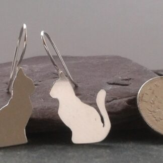 Teeny Tiny Silver Cat Earrings
