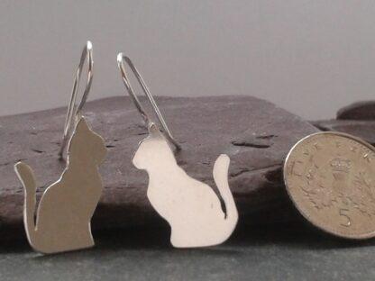 Teeny Tiny Silver Cat Earrings