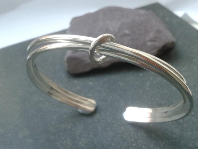 intertwined silver bangle