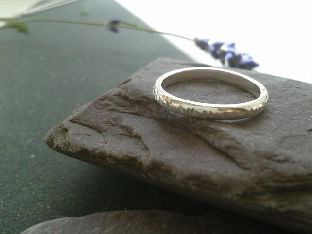 textured silver band skinny stacking ring