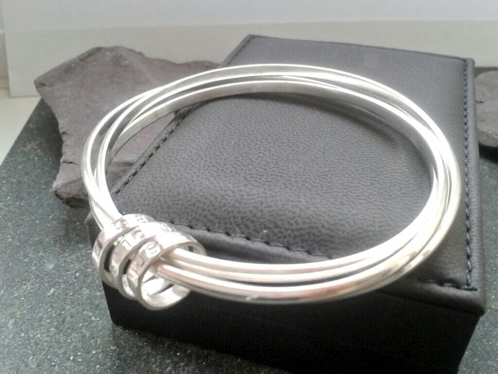 Personalised Silver Russian Wedding Bangle; Hallmarked