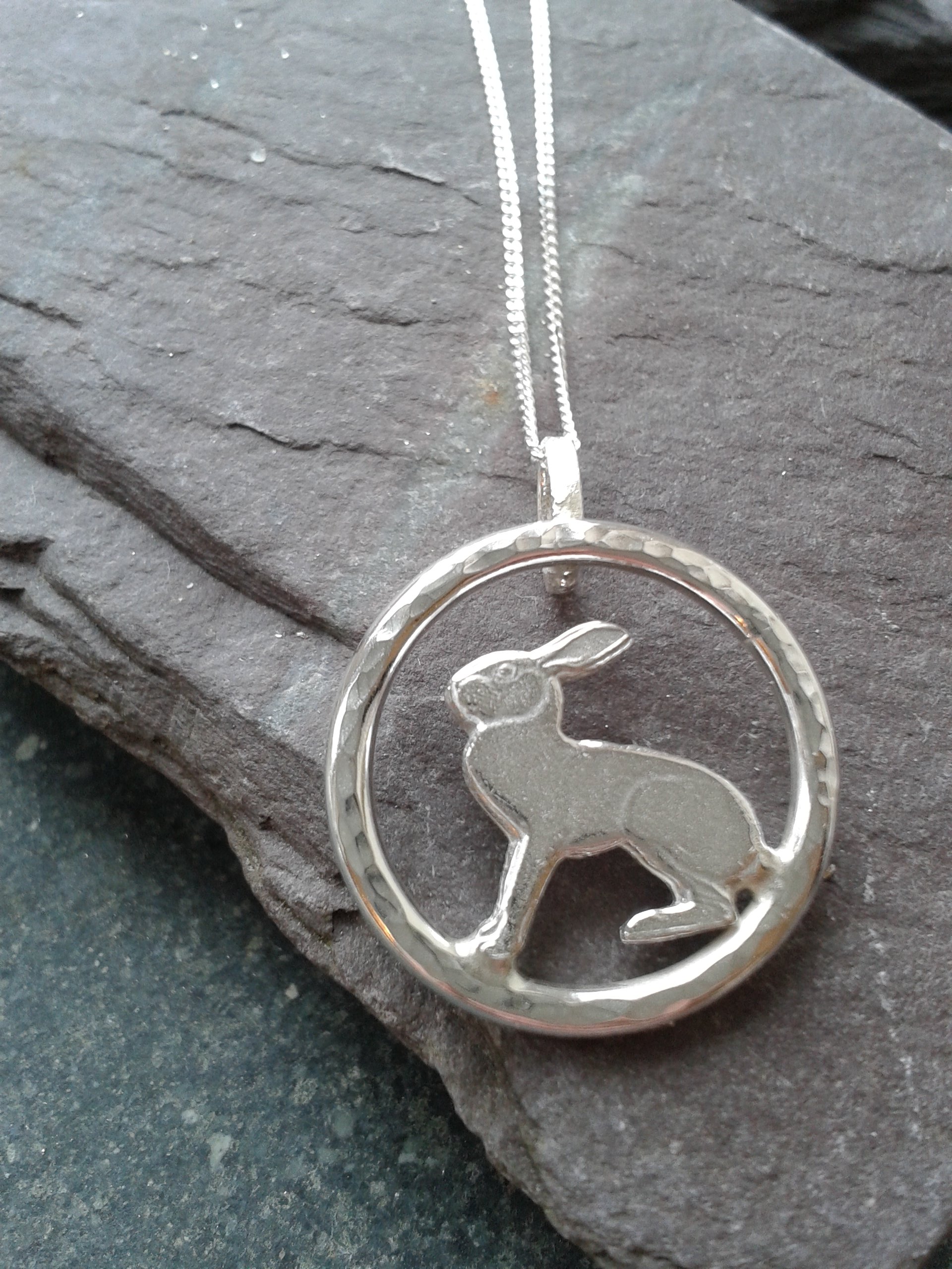 Handmade silver hare pendant by lucylou designs silver hare pendant aloadofball Gallery