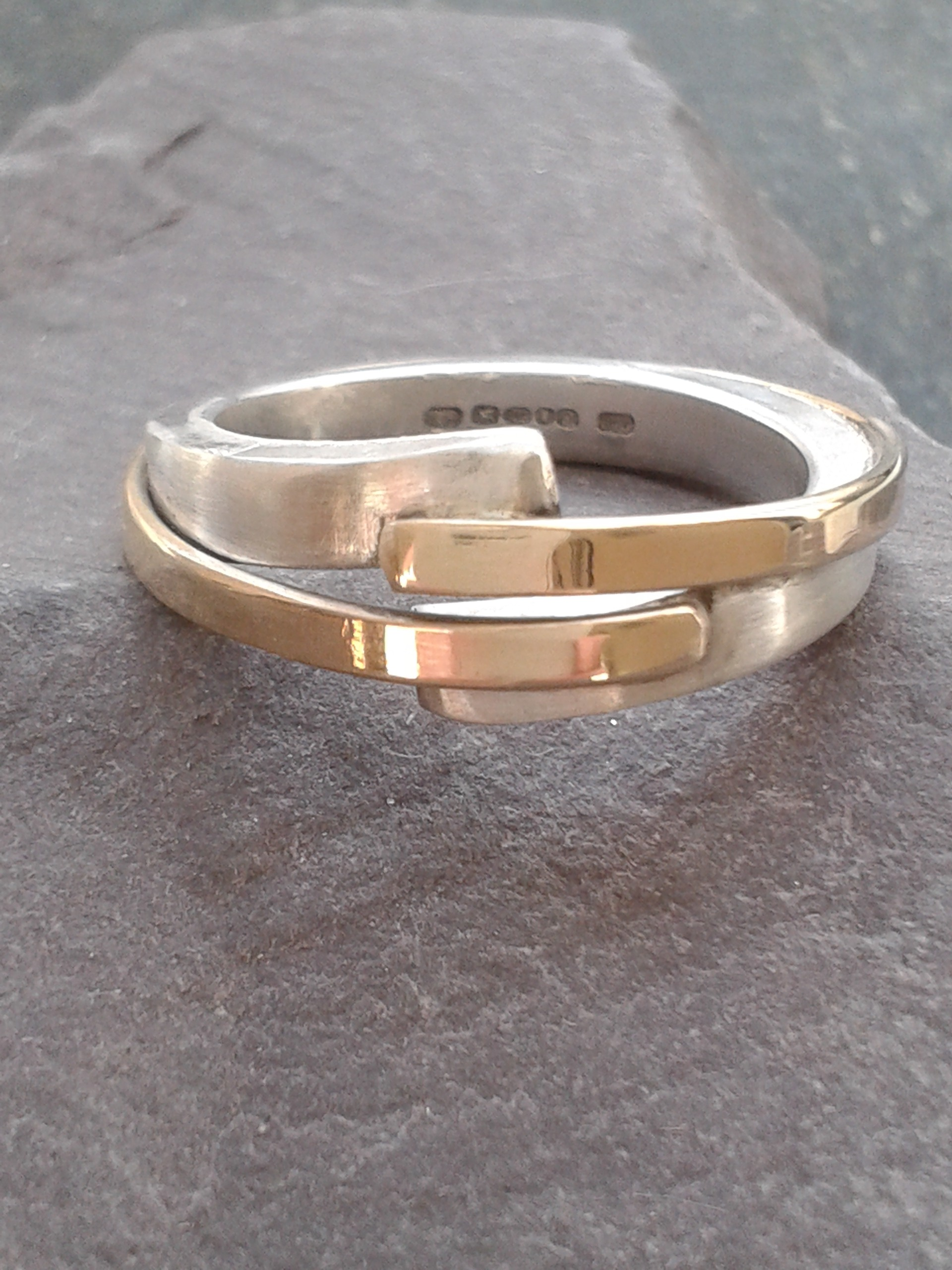 Silver and gold designer ring