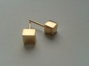 Gold cube earrings ready to go and be hallmarked