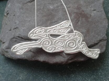 Etched Silver Hare Pendant