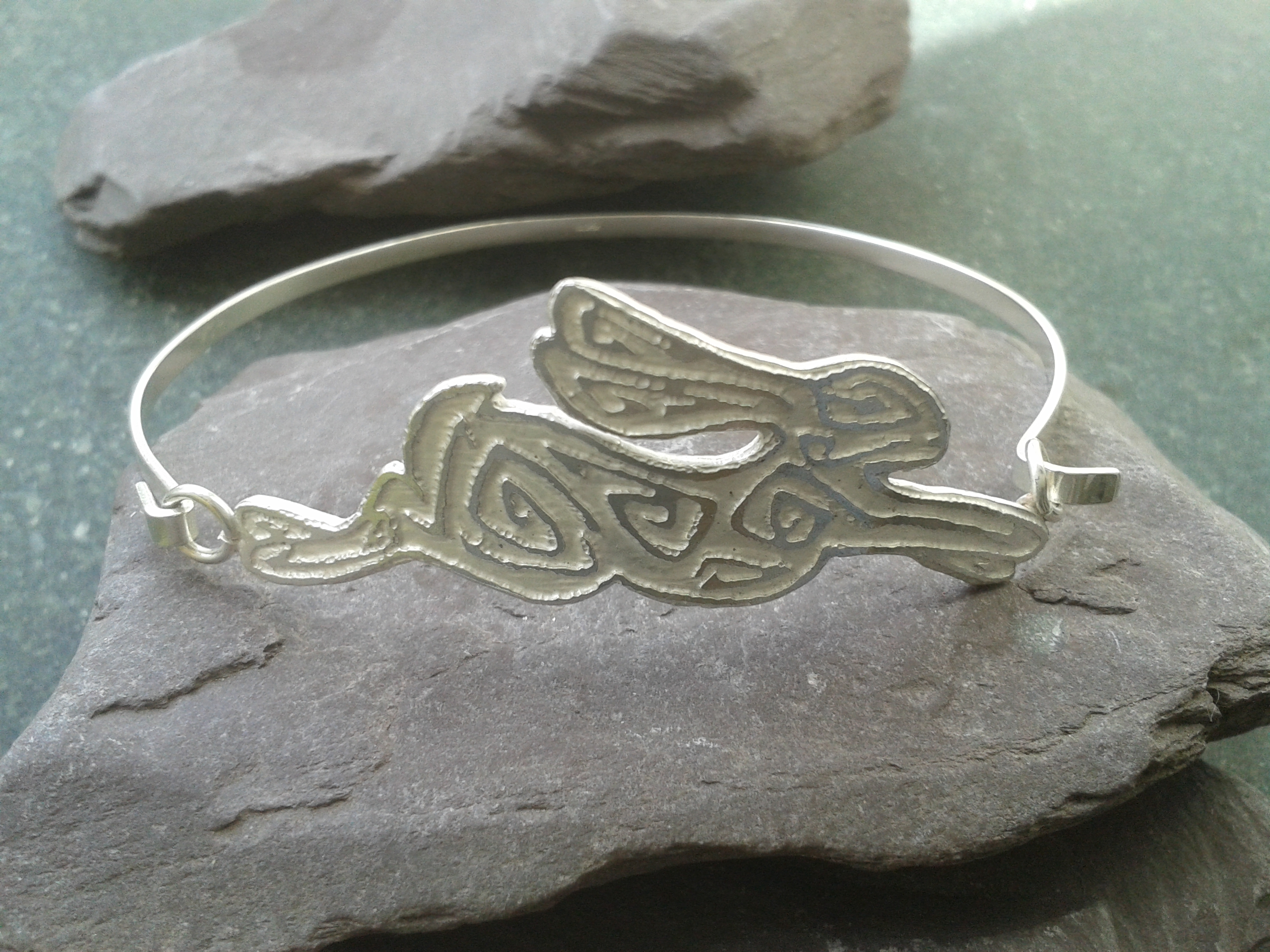 Etched silver hare bangle