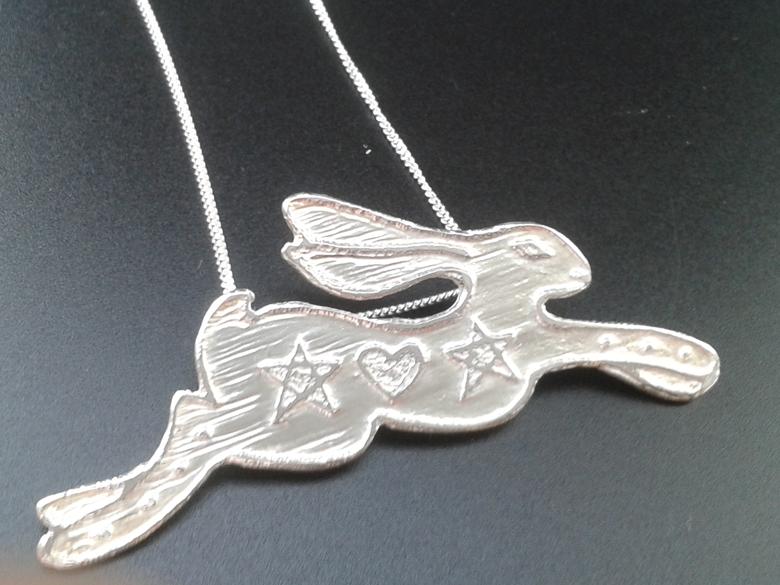 Magick - etched silver hare pendant