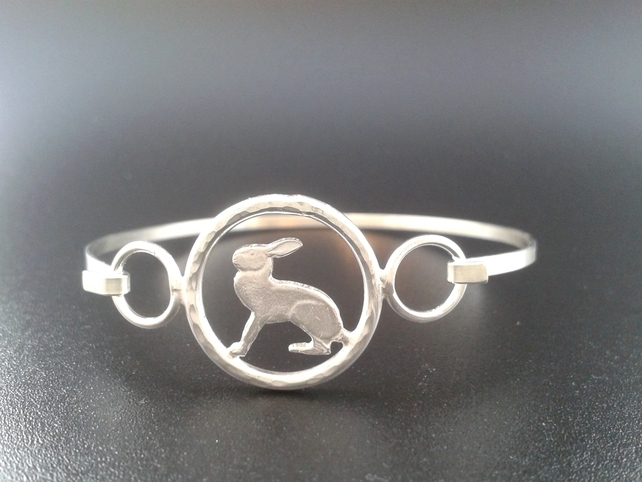 open silver hare bangle