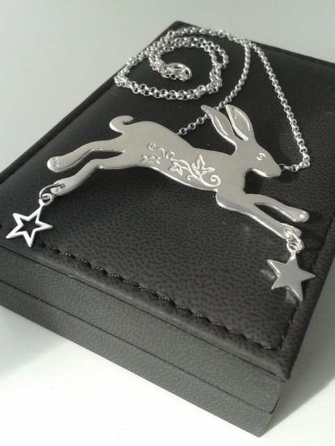 leaping silver hare pendant