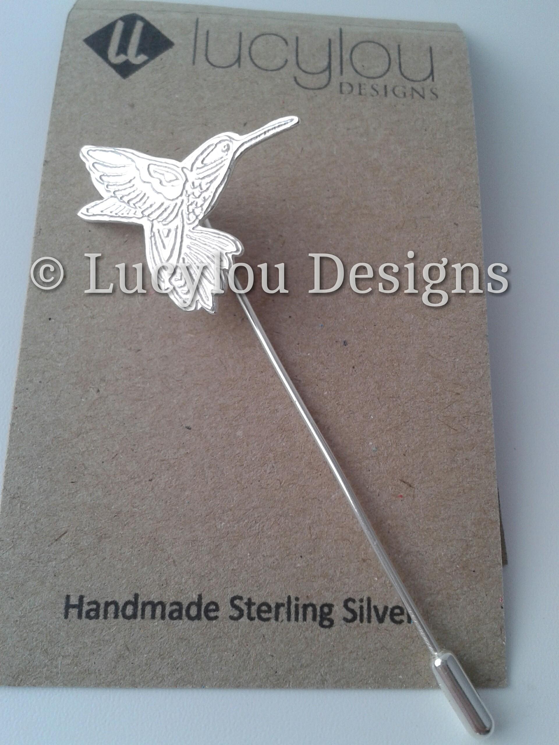 silver hummingbird brooch pin