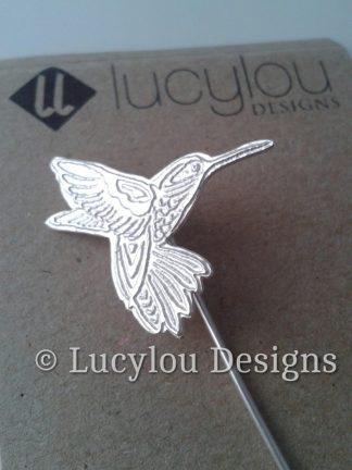 silver hummingbird brooch pin