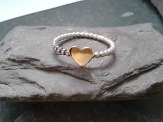 Gold Heart on Silver Ring