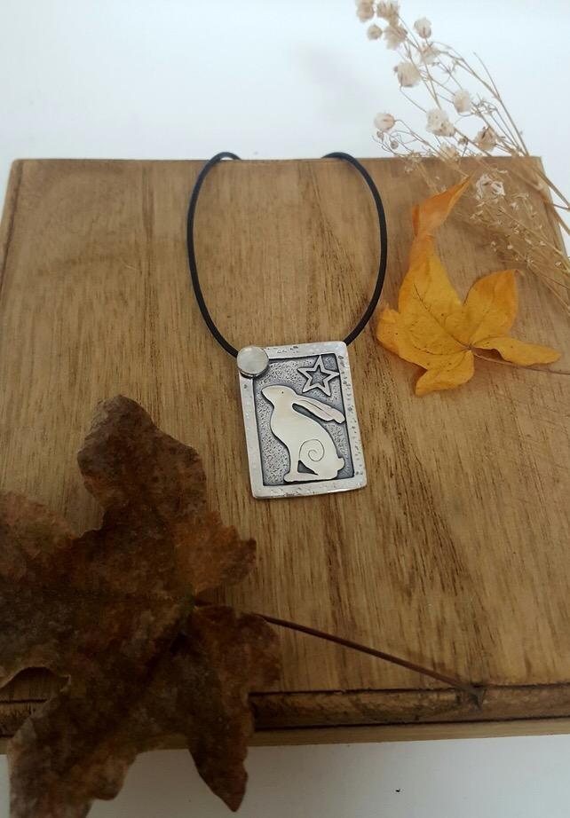 Silver star gazey hare pendant