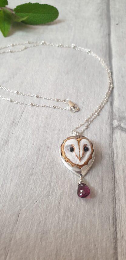 Garnet Owl Pendant