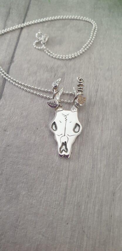 """Ossia"" Silver Deer Skull Pendant"