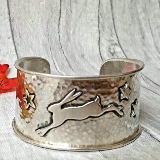 Wide Silver Hare Cuff