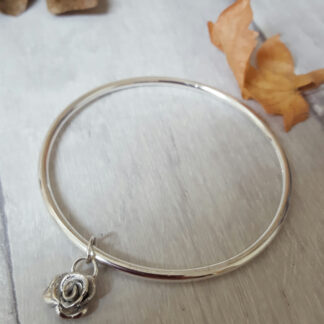 Solid Silver Rose Bangle