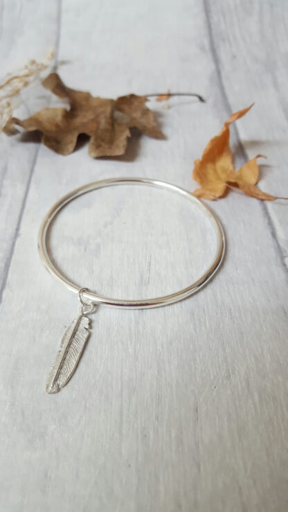 Solid SIlver Feather Bangle