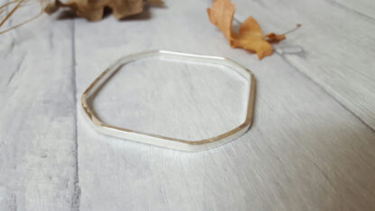 Rounded Square Silver Bangle