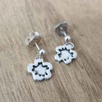 Silver Hibiscus Earrings
