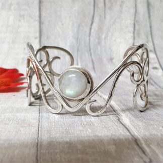 Moonstone filigree cuff