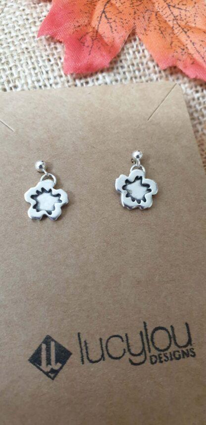 Silver Hibiscus earrings
