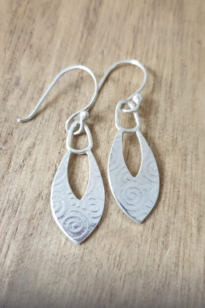 Silver Spiral Patterned Drop Earrings