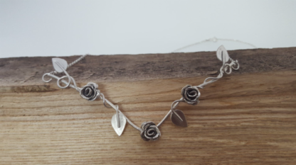 Silver rose necklace